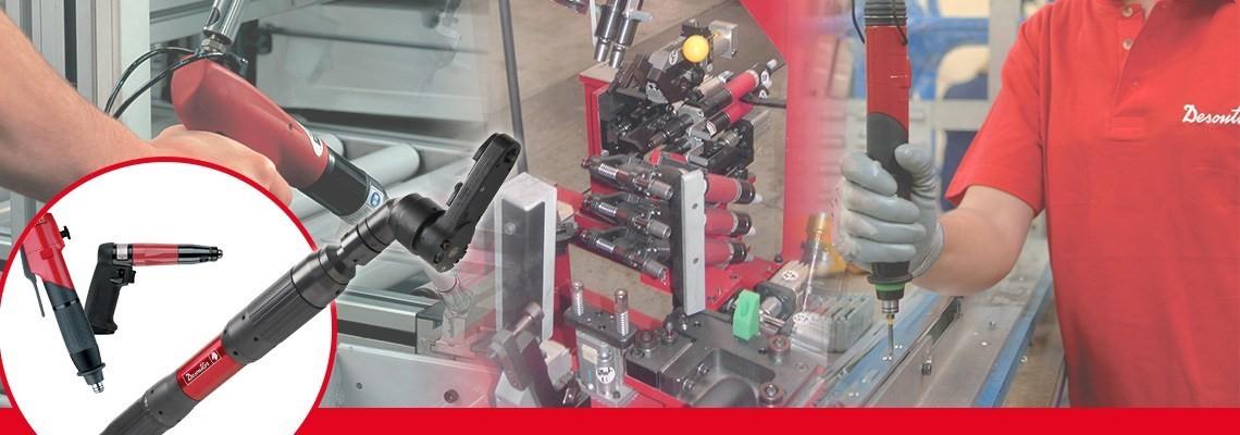 Desoutter Industrial Tools a créé une large gamme de visseuses renvoi d'angle à clabots fournissant un temps de service rapide et une faible force de réaction sur joint dur.