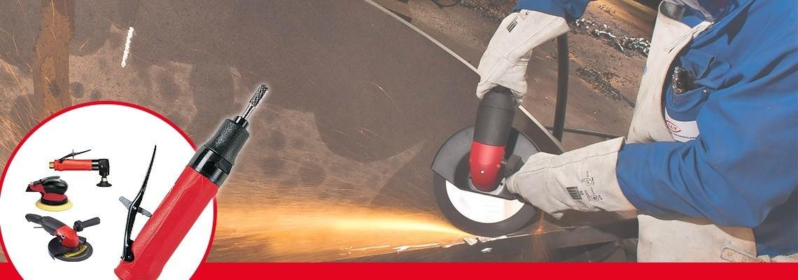 Vous recherchez une meuleuse pneumatique pour meules obus ? Desoutter Industrial Tools conçoit des meuleuses pneumatiques à haute performance. N'hésitez pas à demander une démonstration !